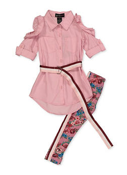Girls 4-6x Ruffled Cold Shoulder Shirt with Floral Leggings - 3607038340115