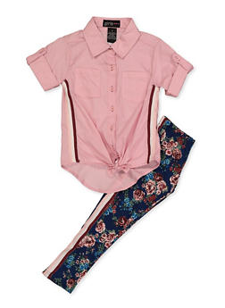 Girls 4-6x Striped Tape Detail  Shirt and Leggings - 3607038340116