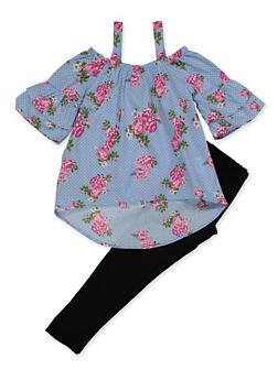 Girls 4-6x Floral Polka Dot Cold Shoulder Top with Leggings - 3607038340118
