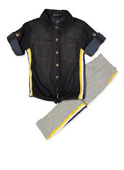 Girls 4-6x Striped Tape Shirt with Leggings - 3607038340120