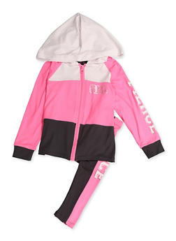 Girls 4-6x Fierce Grl Color Block Top and Leggings - 3607038340132