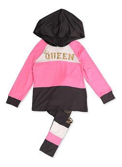 Girls 4-6x Queen Color Block Top and Leggings - 3607038340134