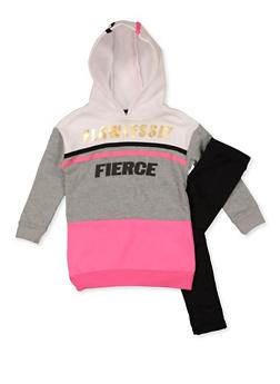 Girls 4-6x Flawlessly Fierce Color Block Sweatshirt with Leggings - 3607038340142