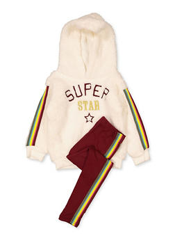 Girls 4-6x Superstar Sherpa Sweatshirt with Leggings - 3607038340150