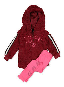 Girls 4-6x Love Sherpa Sweatshirt and Leggings Set - 3607038340152