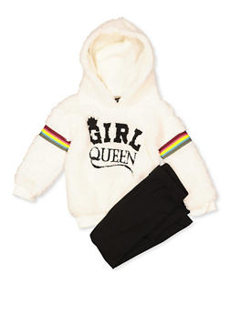 Girls 4-6x Girl Queen Sherpa Sweatshirt and Leggings Set - 3607038340153