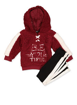 Girls 4-6x Be You Tiful Sherpa Sweatshirt with Leggings - 3607038340154