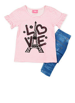 Girls 4-6x Love Graphic Top with Printed Leggings Set - 3607048370020
