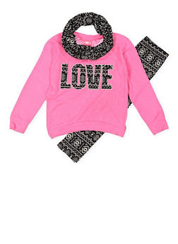 Girls 4-6x Love Graphic Top and Leggings with Scarf - 3607048370021