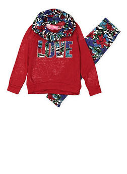 Girls 4-6x Love Graphic Sweater with Leggings and Scarf - 3607048370022