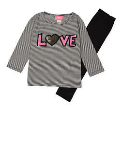 Girls 4-6x Sequin Love Graphic Top and Leggings - 3607048370027