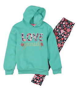 Girls 4-6x Love Graphic Sweatshirt with Leggings - 3607048370030