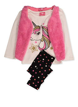 Girls 4-6x Glitter Unicorn Tee with Leggings and Vest - 3607048370035