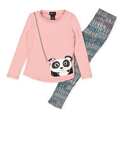 Girls 4-6x Panda Purse Graphic Top with Printed Leggings - 3607051060001