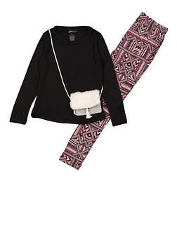 Girls 4-6x Purse Graphic Top with Printed Leggings - 3607051060002