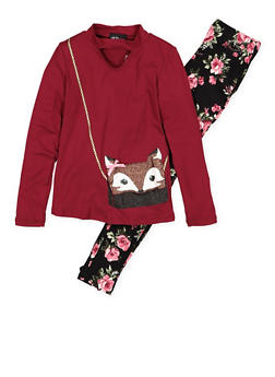 Girls 4-6x Fox Purse Graphic Top and Printed Leggings - 3607051060004