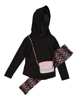 Girls 4-6x Graphic Purse Top with Printed Leggings - 3607051060005