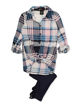 Girls 4-6x Plaid Tie Front Shirt with Leggings - 3607051060011