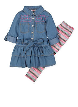 Girls 4-6x Embroidered Denim Shirt with Printed Leggings - 3607054730010