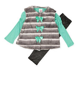 Girls 4-6x Top with Shimmer Knit Leggings and Vest - 3607054730040