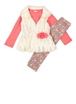 Girls 4-6x Top with Printed Leggings and Vest - 3607054730041