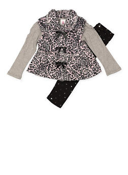 Girls 4-6x Long Sleeve Tee with Leggings and Vest - 3607054730042