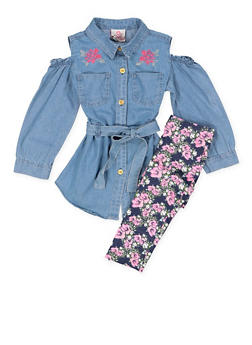 Girls 4-6x Denim Embroidered Top with Leggings - 3607054730043