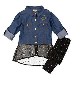 Girls 4-6x Chambray Top and Printed Leggings Set - 3607054730044
