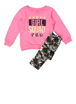 Girls 4-6x Graphic Sweatshirt with Printed Leggings - 3607054730050