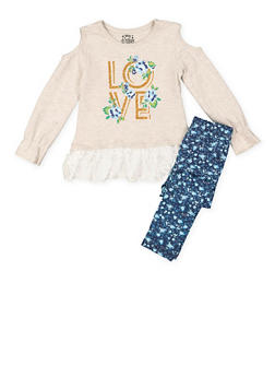 Girls 4-16 Graphic Lace Trim Top with Leggings - 3607054730052