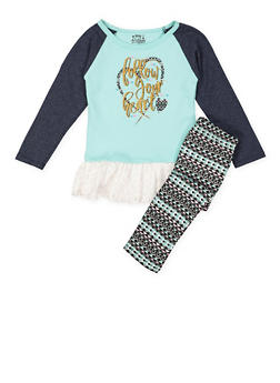 Girls 4-6x Glitter Graphic Top and Leggings Set - 3607054730053