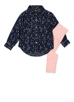 Girls 4-6x Star Print Denim Shirt and Leggings - 3607054730060