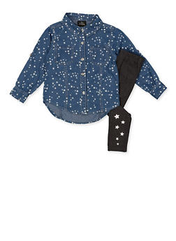 Girls 4-6x Star Print Denim Shirt and Leggings - 3607054730060