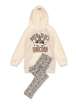 Girls 4-6x Glitter Unicorn Sherpa Sweatshirt with Leggings - 3607054730067