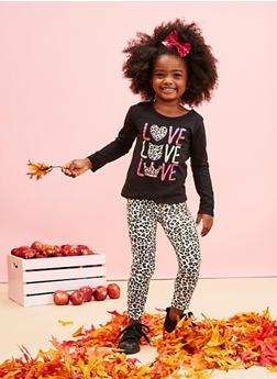 Girls 4-6x Love Leopard Top and Leggings Set - 3607054730069