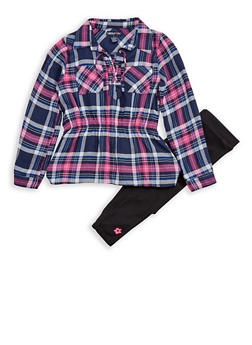 Girls 4-6x Limited Too Plaid Lace Up Tunic Top with Leggings - 3607060990012