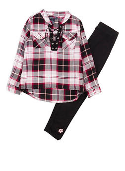 Girls 4-6x Limited Too Pink Plaid Lace Up Top with Leggings Set - 3607060990014