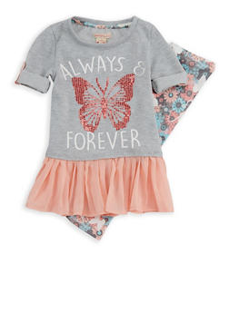 Girls 4-6x Sequin Butterfly Top with Leggings - 3607061950106