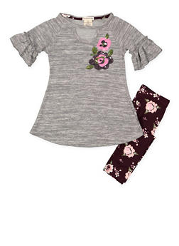 Girls 4-6x Knit Tunic Top and Floral Leggings - 3607061950120