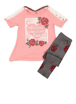 Girls 4-6x Graphic Tee and Printed Leggings - 3607061950121