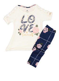 Girls 4-6x Love Graphic Tee and Printed Leggings - 3607061950122