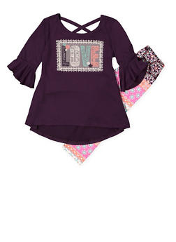 Girls 4-6x Love Embroidered Top with Leggings - 3607061950123