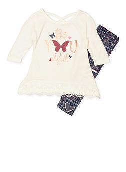 Girls 4-6x Graphic Top and Printed Leggings Set - 3607061950126
