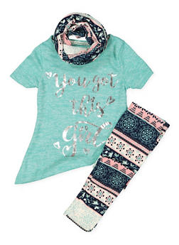 Girls 4-6x Graphic Knit Top with Leggings and Scarf - 3607061950129