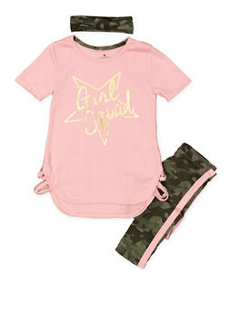 Girls 4-6x Graphic Top with Leggings and Headband - 3607061950130