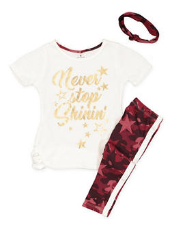 Girls 4-6x Graphic Top with Leggings and Headband - 3607061950131
