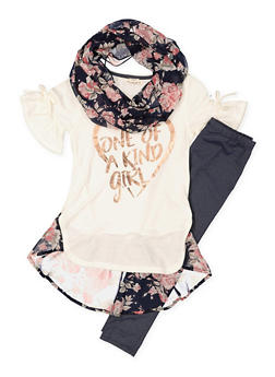 Girls 4-6x Graphic Top with Leggings and Scarf - 3607061950133