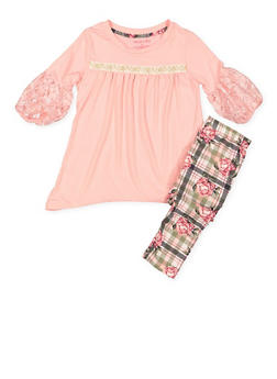 Girls 4-6x High Low Top and Leggings Set - 3607061950140