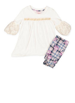 Girls 4-6x High Low Top and Leggings Set - 3607061950141