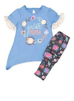 Girls 4-6x Graphic Top and Printed Leggings Set - 3607061950143